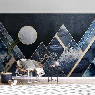 Carta da parati metallizzata - Luna dorata su montagne nere astratte