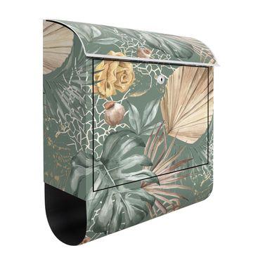 Cassetta postale - Grandi foglie con rose su sfondo verde