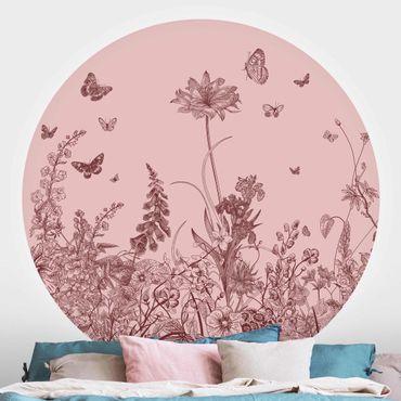 Carta da parati rotonda autoadesiva - Grandi fiori con farfalle su colore rosa
