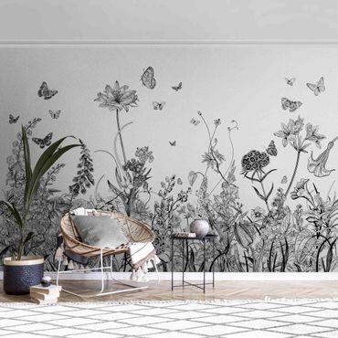 Carta da parati metallizzata - Grandi fiori con farfalle in nero