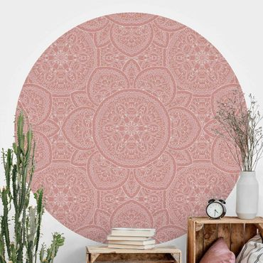 Carta da parati rotonda autoadesiva - modello grande mandala in rosa antico