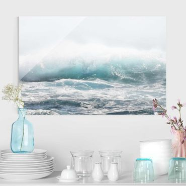 Quadro in vetro - Grande onda alle Hawaii