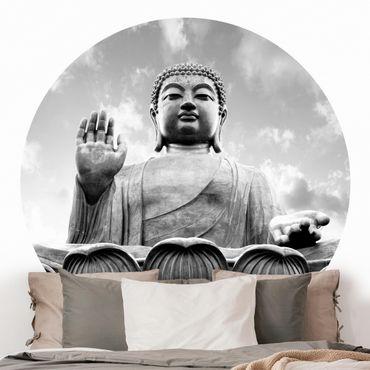 Carta da parati rotonda autoadesiva - Big Buddha in bianco e nero
