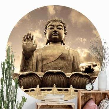 Carta da parati rotonda autoadesiva - Big Buddha Seppia