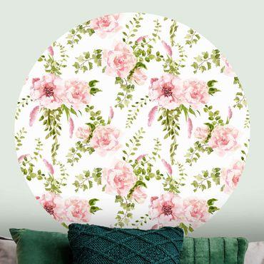 Carta da parati rotonda autoadesiva - foglie verdi con fiori rosa in acquerello