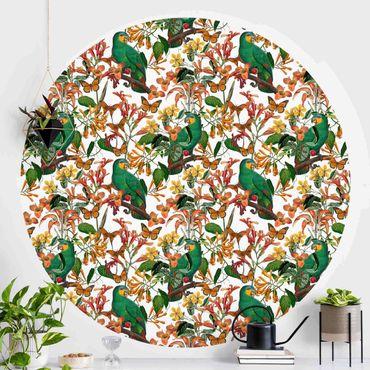 Carta da parati rotonda autoadesiva - pappagalli verdi con farfalle tropicali