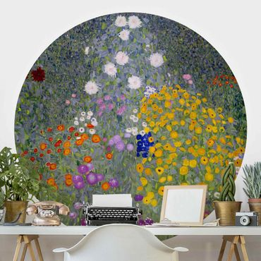 Carta da parati rotonda autoadesiva - Gustav Klimt - Cottage Garden