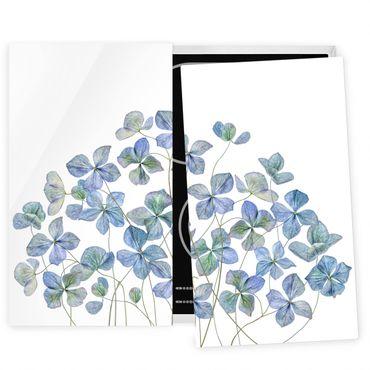 Coprifornelli in vetro - Fiori di ortensia blu