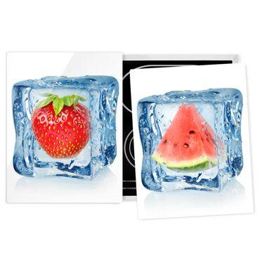 Coprifornelli in vetro - Strawberry And Melon In The Ice Cube - 52x80cm