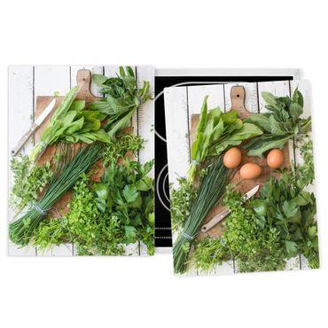 Coprifornelli in vetro - Fresh Herbs On Wooden Board - 52x80cm