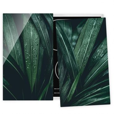 Coprifornelli in vetro - Green Palm Leaves