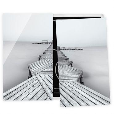 Coprifornelli in vetro - Molo in legno Bianco e nero