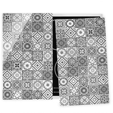 Coprifornelli in vetro - Mediterranean Tile Pattern Grayscale