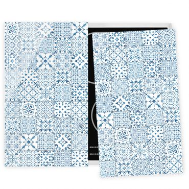 Coprifornelli in vetro - Pattern Tiles Blue White