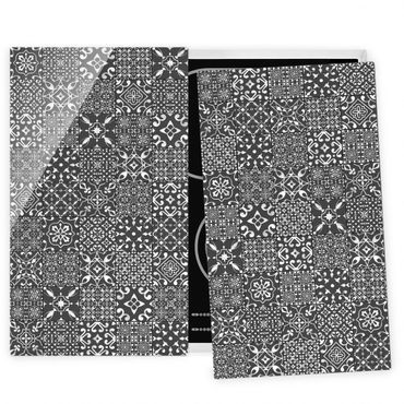 Coprifornelli in vetro - Pattern Tiles Dark Gray White