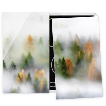 Coprifornelli in vetro - Nube di foresta in autunno