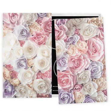 Coprifornelli in vetro - Pastel Paper Art Roses