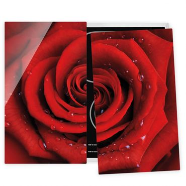 Coprifornelli in vetro - Red Rose With Water Drops