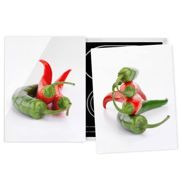 Coprifornelli in vetro - Red And Green Peppers - 52x80cm