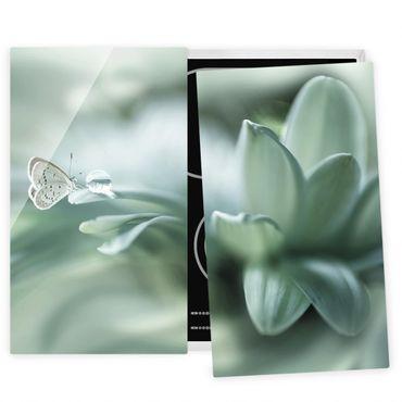 Coprifornelli in vetro - Farfalla E Gocce di rugiada In Pastel Verde