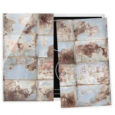 Coprifornelli in vetro - Metallo industriale shabby - 52x60cm