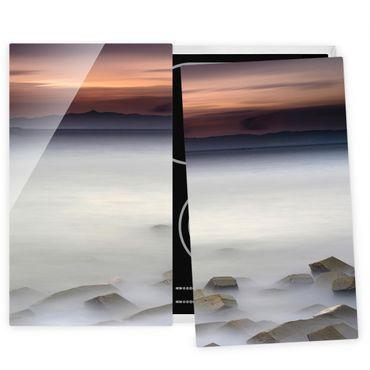 Coprifornelli in vetro - Tramonto Nella Nebbia - 52x60cm