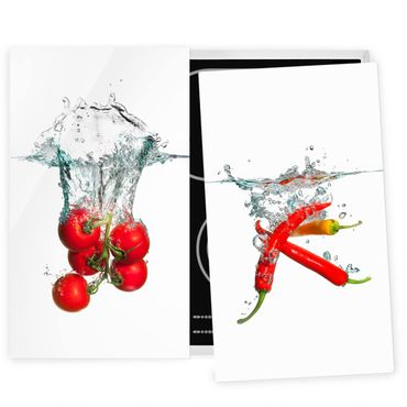 Coprifornelli in vetro - Tomatoes And Chili Peppers In Water