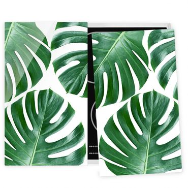Coprifornelli in vetro - Tropical Green Leaves Monstera