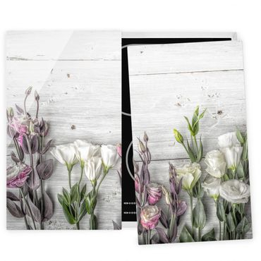 Coprifornelli in vetro - Tulip Rose Shabby Wood Look