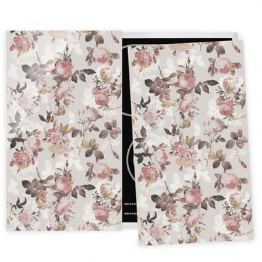Coprifornelli in vetro - Vintage Floral Pattern With Roses - 52x60cm