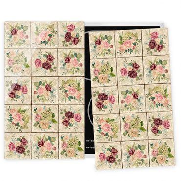 Coprifornelli in vetro - Vintage Roses And Hydrangeas - 52x60cm