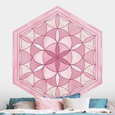 Carta da parati esagonale adesiva con disegni - Mandala esagonale in rosa