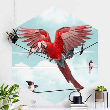 Carta da parati esagonale adesiva con disegni - Cielo con uccelli