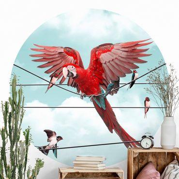 Carta da parati rotonda autoadesiva - Cielo con gli uccelli