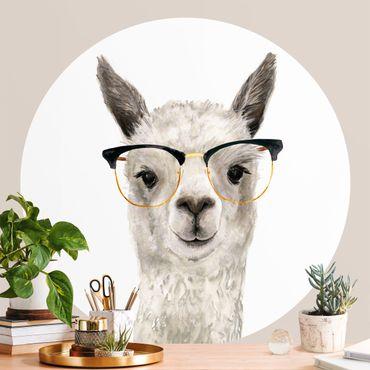 Carta da parati rotonda autoadesiva - Hip Lama con gli occhiali I