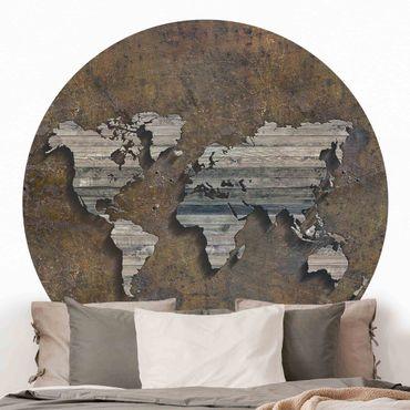Carta da parati rotonda autoadesiva - griglia di legno mappa del mondo
