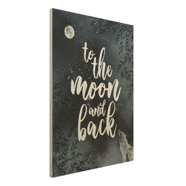 Quadro in legno - Love You To The Moon And Back- Verticale 3:4