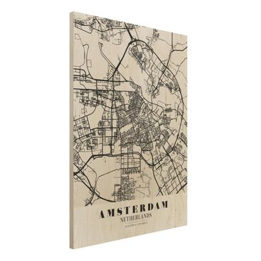 Quadro in legno - Amsterdam City Map - Classic- Verticale 3:4
