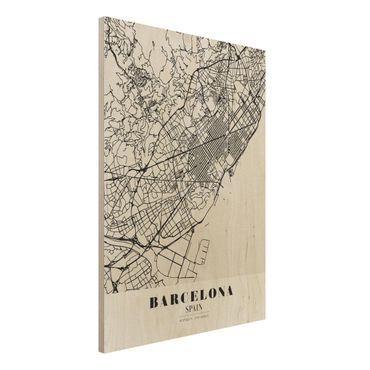Quadro in legno - Barcelona City Map - Classic- Verticale 3:4