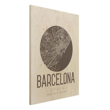 Quadro in legno - Barcelona City Map - Retro- Verticale 3:4