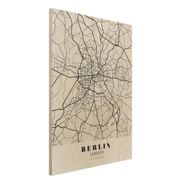 Quadro in legno - Berlin City Map - Classic- Verticale 3:4