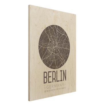 Quadro in legno - Berlin City Map - Retro- Verticale 3:4