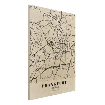 Quadro in legno - Frankfurt City City Map - Classical- Verticale 3:4