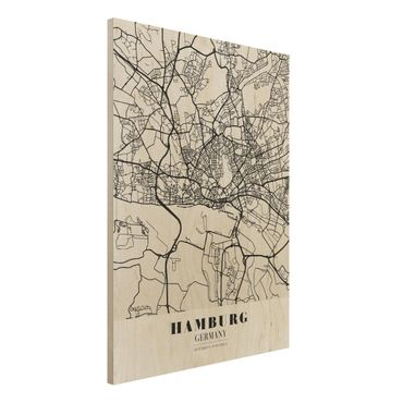 Quadro in legno - Hamburg City Map - Classic- Verticale 3:4