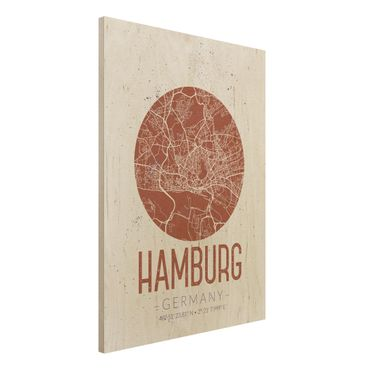 Quadro in legno - Hamburg City Map - Retro- Verticale 3:4