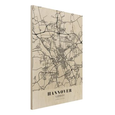 Quadro in legno - Hannover City Map - Classic- Verticale 3:4