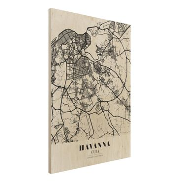 Quadro in legno - Havana City Map - Classic- Verticale 3:4