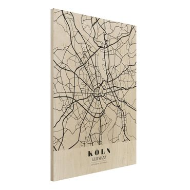 Quadro in legno - Cologne City Map - Classic- Verticale 3:4