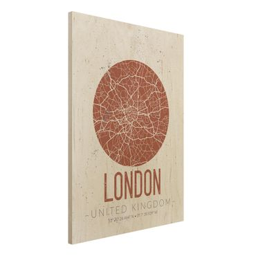 Quadro in legno - London City Map - Retro- Verticale 3:4