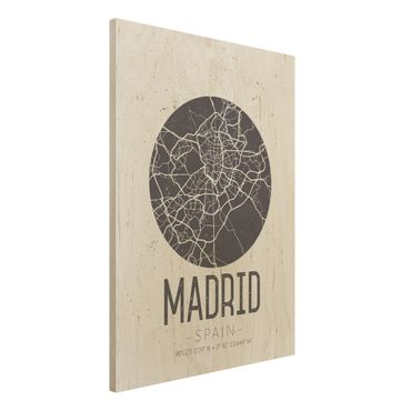 Quadro in legno - Madrid City Map - Retro- Verticale 3:4